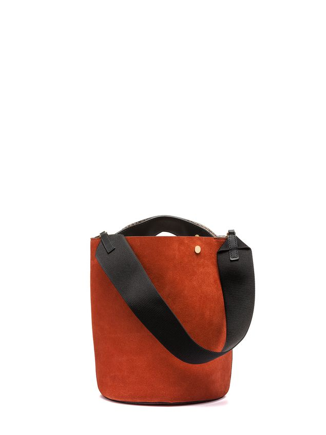 Marni BUCKET bag in brown split leather Woman - 3
