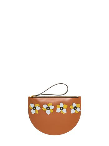 Marni Clutch with flowers in leather Woman