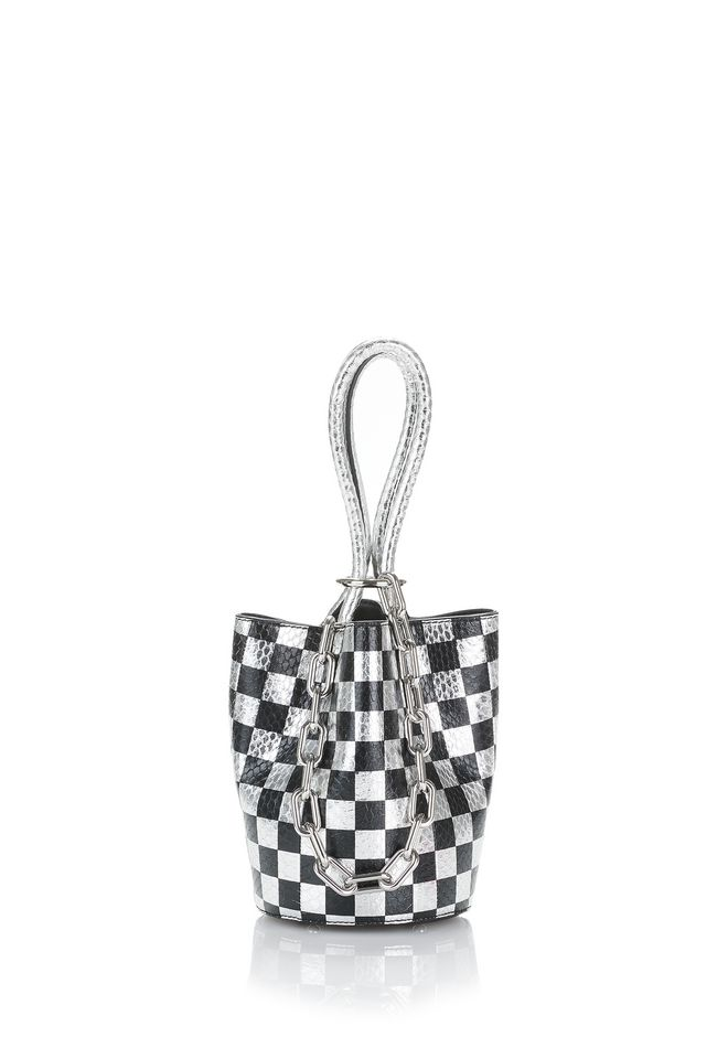 ALEXANDER WANG TOP HANDLE BAGS ROXY MINI BUCKET IN CHECKERBOARD ELAPHE