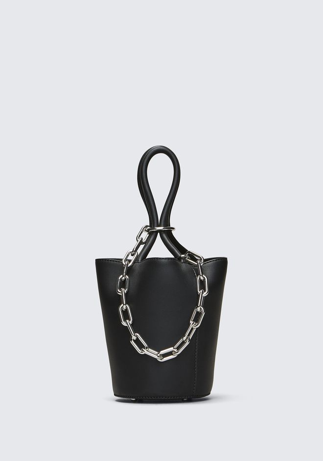 ALEXANDER WANG TOTES ROXY MINI BUCKET IN BLACK WITH RHODIUM
