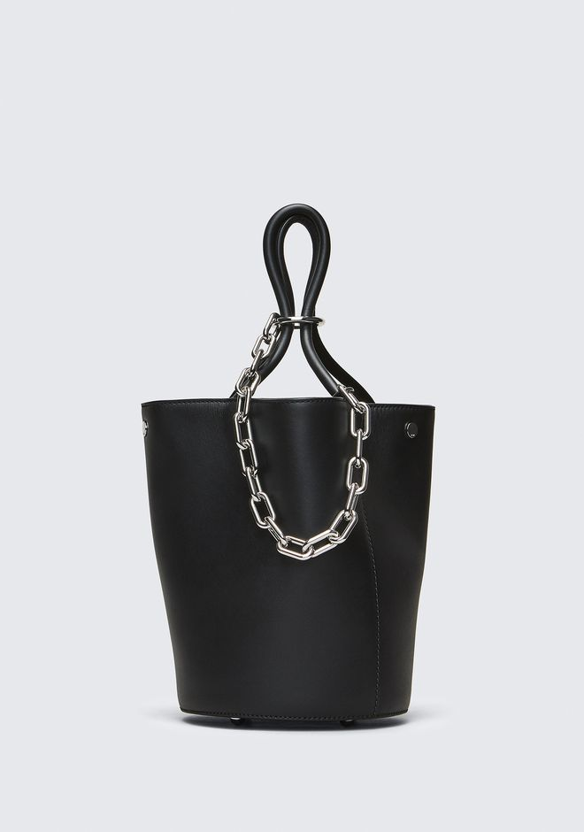 ALEXANDER WANG TOTES ROXY BUCKET BAG IN BLACK WITH RHODIUM