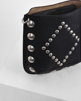 ISABEL MARANT BAG Woman OSKAN studded vegetable leather cross body hobo bag e