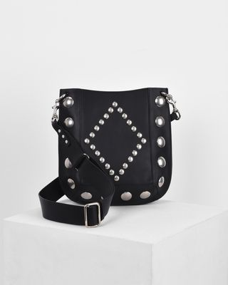 OSKAN studded vegetable leather cross body hobo bag