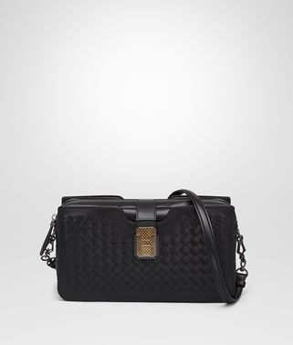 MEDIUM CLUTCH BAG IN NERO INTRECCIATO NAPPA