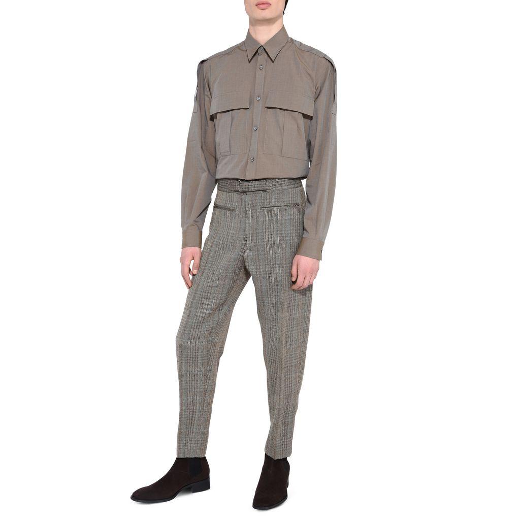 High Waist Herringbone Tailored Pagan Trousers - STELLA McCARTNEY MEN