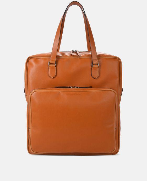 蜂蜜色科技纳帕皮革手提袋