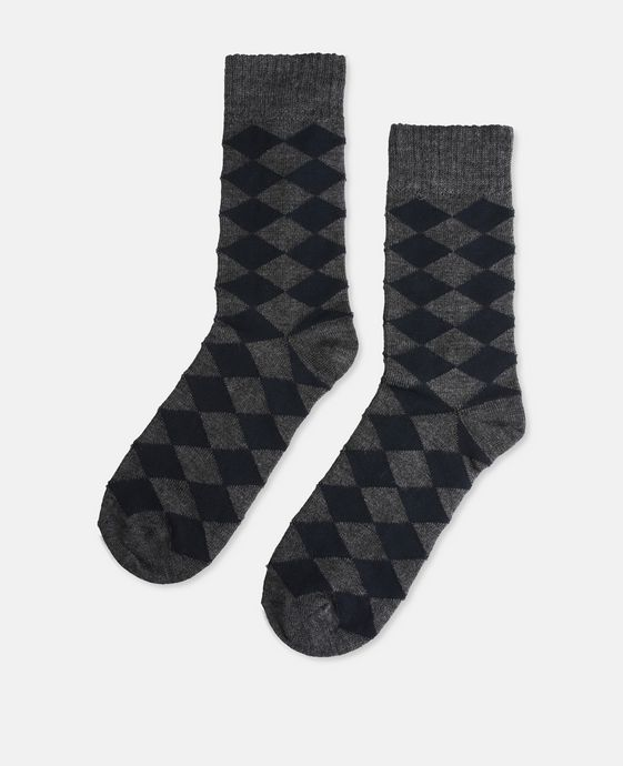 Grey Harlequin Print Socks
