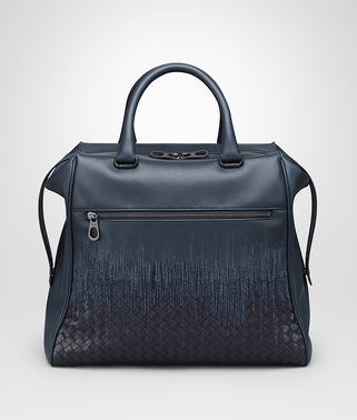 TOTE BAG IN DENIM TOURMALINE EMBROIDERED NAPPA LEATHER, INTRECCIATO DETAIL