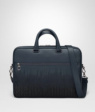 BRIEFCASE IN DENIM TOURMALINE EMBROIDERED NAPPA LEATHER, INTRECCIATO DETAIL