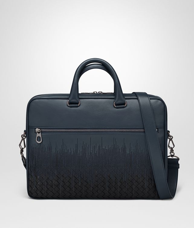 BOTTEGA VENETA BRIEFCASE IN DENIM TOURMALINE EMBROIDERED NAPPA LEATHER, INTRECCIATO DETAIL Business bag Man fp