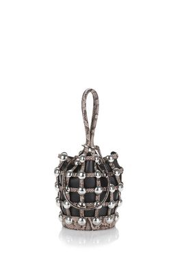 DOME STUD ROXY MINI BUCKET IN EMBOSSED BLACK AND BROWN