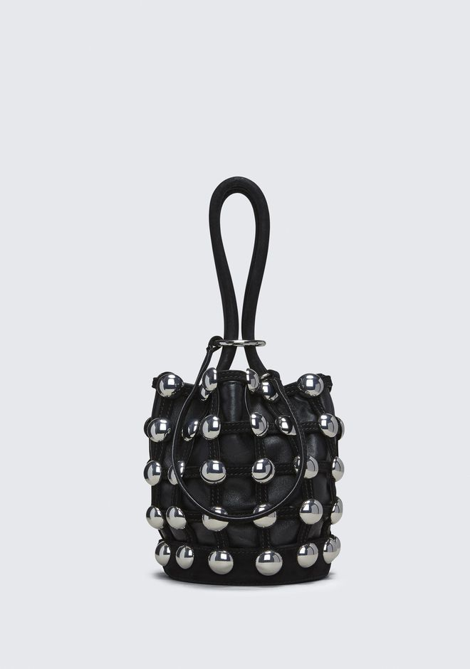 ALEXANDER WANG TOTES DOME STUD ROXY MINI BUCKET IN BLACK SUEDE