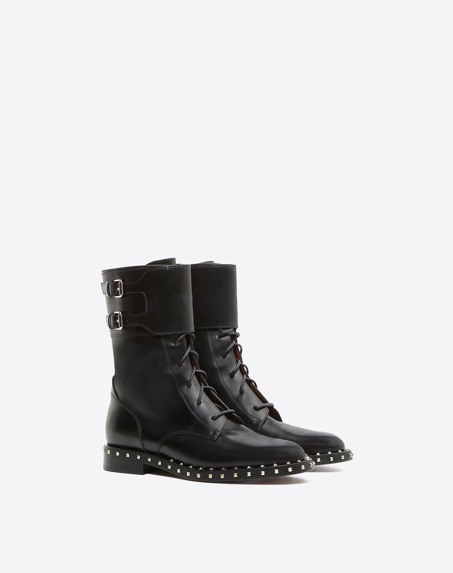 Black Valentino Garavani Soul Rockstud Combat Boots Valentino BxZQDnN