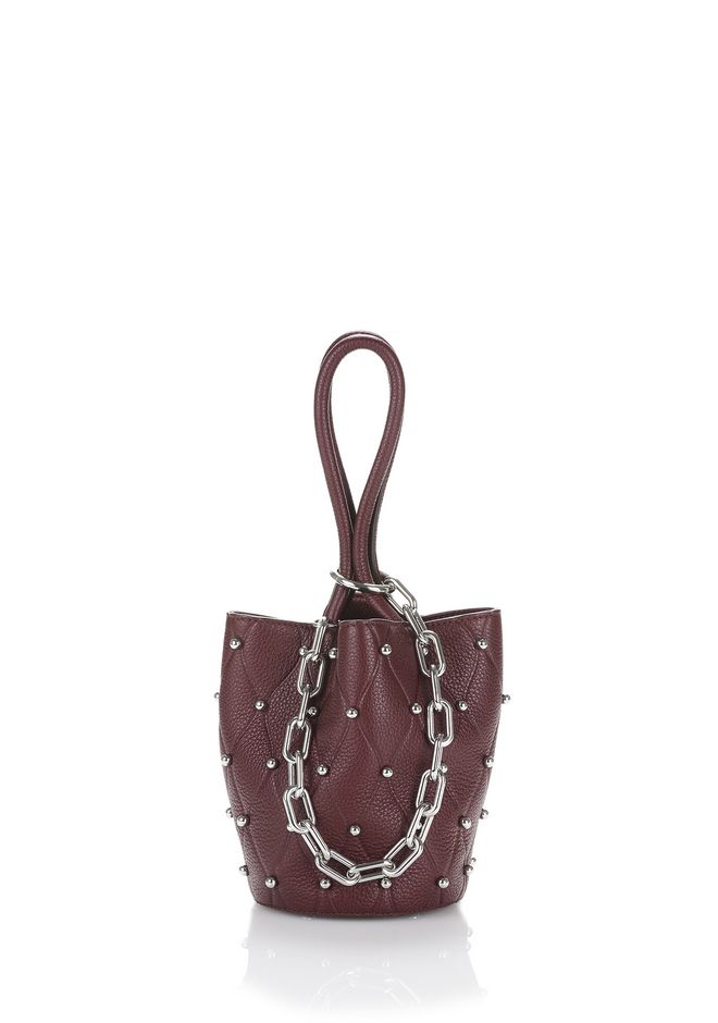 ALEXANDER WANG TOTES ROXY MINI BUCKET IN EMBOSSED BEET WITH RHODIUM