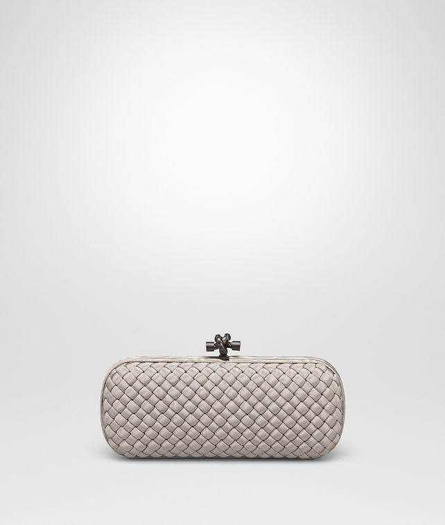 BOTTEGA VENETA STRETCH KNOT IN IINTRECCIO FAILLE MOIRE CEMENT Pochette Donna fp