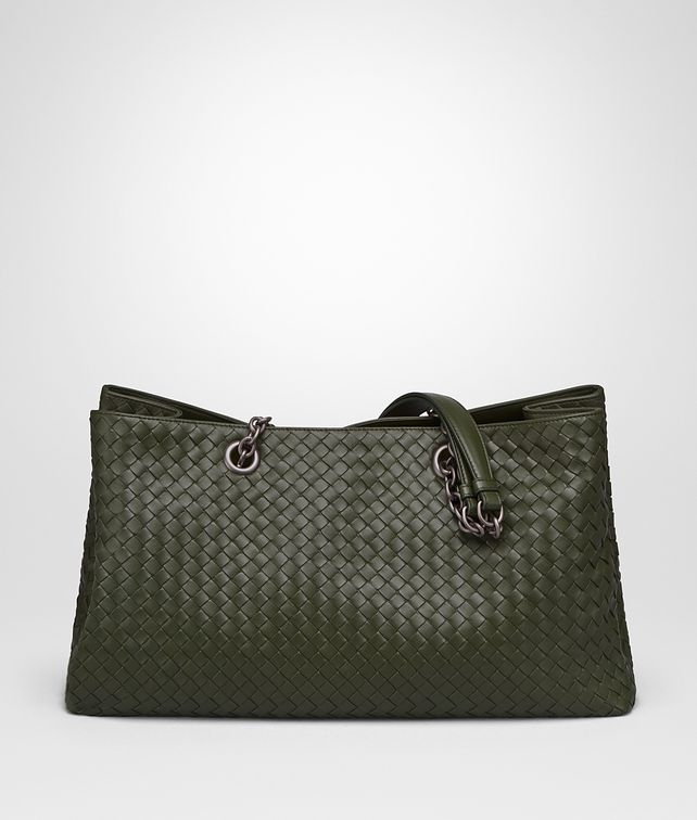BOTTEGA VENETA LARGE TOTE BAG IN MOSS INTRECCIATO NAPPA Top Handle Bag D fp