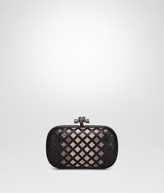 KNOT CLUTCH IN NERO NEW LIGHT GREY FUME' AYERS