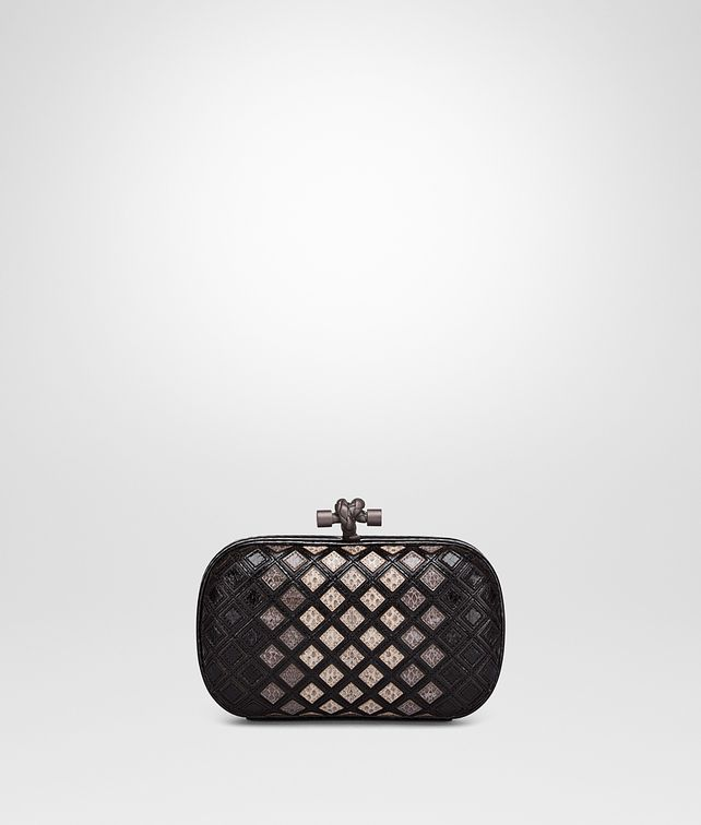 BOTTEGA VENETA KNOT CLUTCH IN NERO NEW LIGHT GREY FUME' AYERS Clutch Woman fp