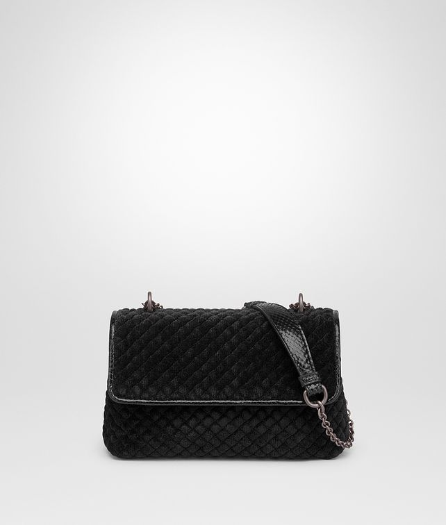 BOTTEGA VENETA BABY OLIMPIA BAG IN NERO EMBROIDERED VELVET, AYERS DETAILS Shoulder or hobo bag Woman fp