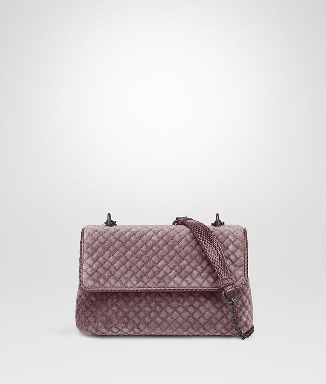BOTTEGA VENETA BABY OLIMPIA BAG IN GLICINE EMBROIDERED VELVET, AYERS DETAILS Shoulder or hobo bag D fp