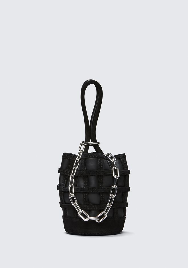 ALEXANDER WANG TOTES CAGED ROXY MINI BUCKET IN BLACK WITH RHODIUM