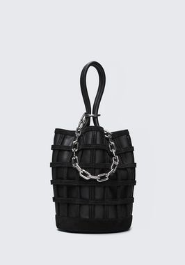 CAGED ROXY BUCKET IN BLACK WITH RHODIUM