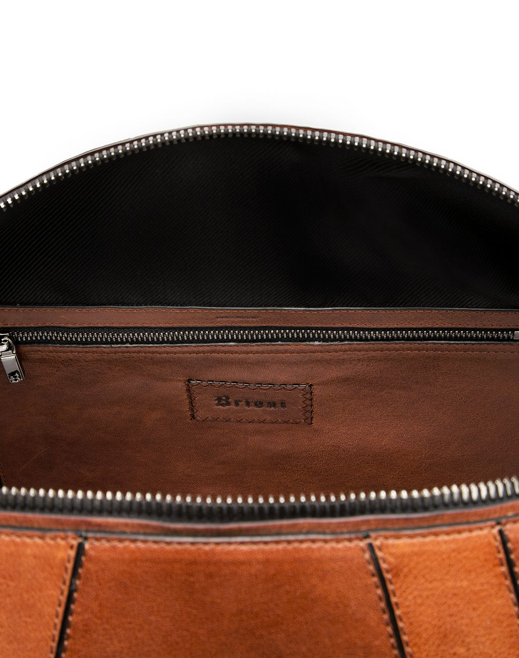 BRIONI Tobacco Brown Travel Bag in Calfskin Bag Man a