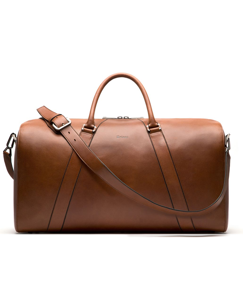 BRIONI Tobacco Brown Travel Bag in Calfskin Bag Man f