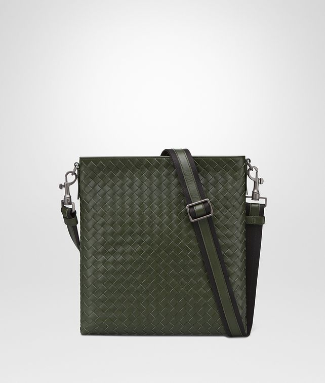 BOTTEGA VENETA SMALL MESSENGER BAG IN MOSS INTRECCIATO VN Messenger Bag U fp