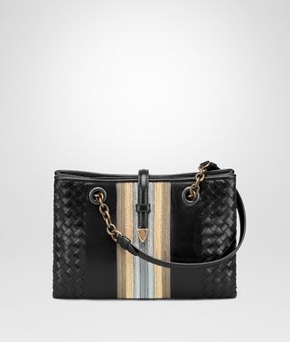 MINI TOTE BAG IN NERO GOAT, METAL DETAILS