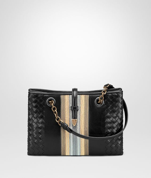 BOTTEGA VENETA MINI TOTE BAG IN NERO GOAT, METAL DETAILS TOTE BAG D fp