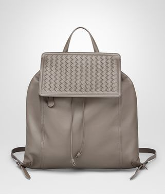 BACKPACK IN STEEL NAPPA LEATHER, INTRECCIATO DETAILS