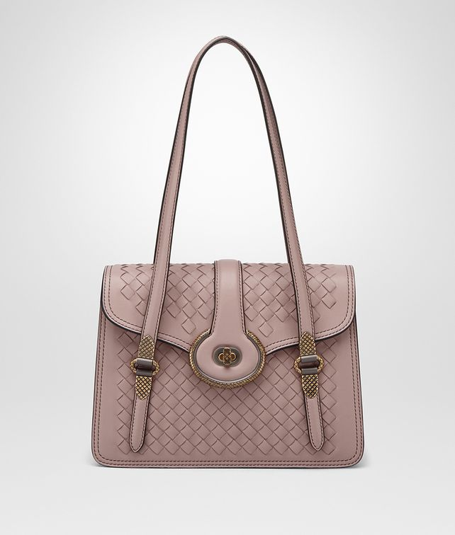 BOTTEGA VENETA MEZZALUNA BAG IN DESERT ROSE INTRECCIATO NAPPA Top Handle Bag D fp