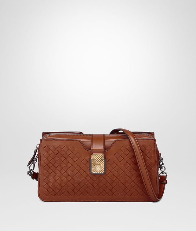 BOTTEGA VENETA MEDIUM CLUTCH BAG IN CALVADOS INTRECCIATO NAPPA LEATHER Crossbody bag D fp