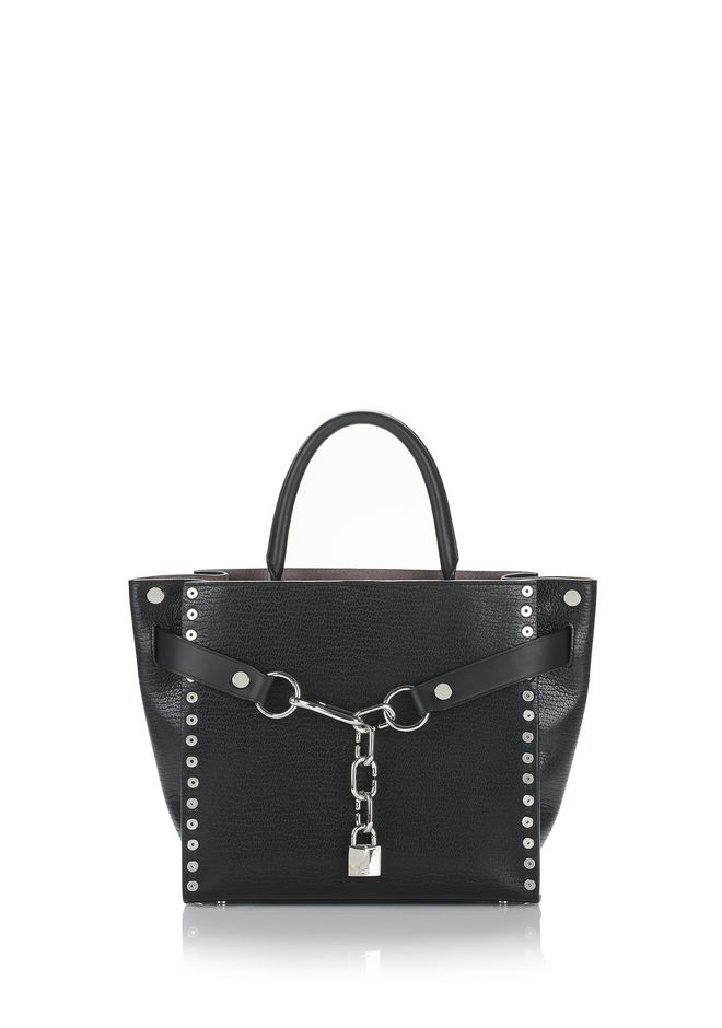 ALEXANDER WANG new-arrivals-bags-woman ATTICA CHAIN LARGE SATCHEL IN BLACK WITH GROMMETS
