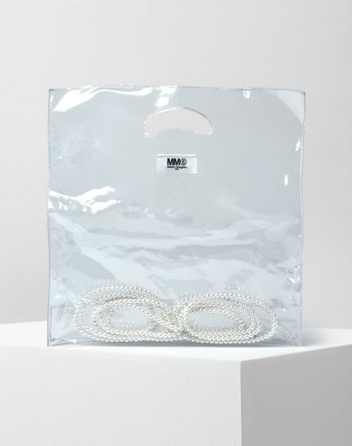 MM6 by MAISON MARGIELA Tote D Transparent PVC tote with enclosed faux pearls f