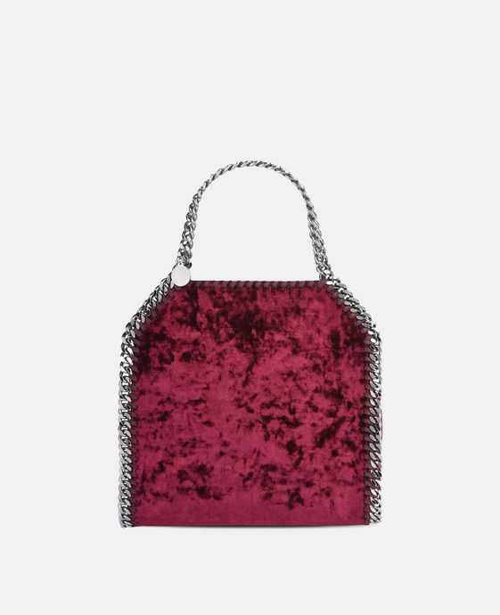 Mini-tote bag Falabella en velours rouge