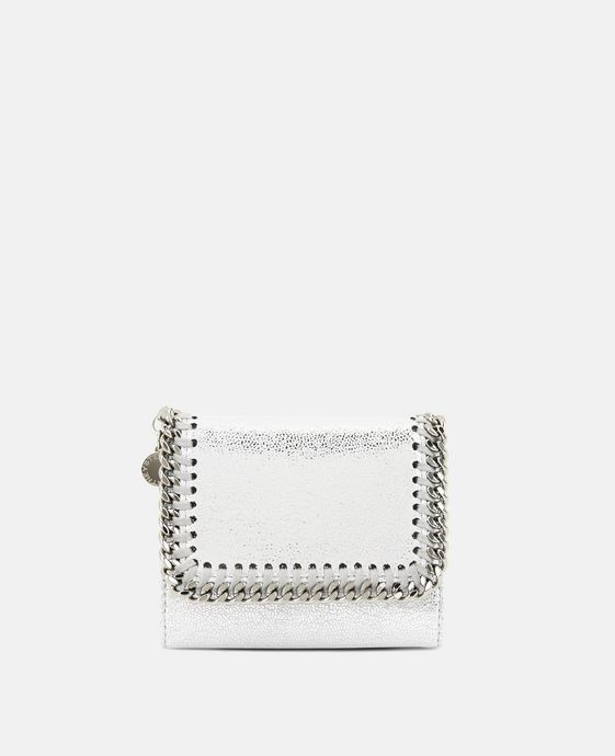 Silver Falabella Shiny Dotted Chamois Flap Wallet