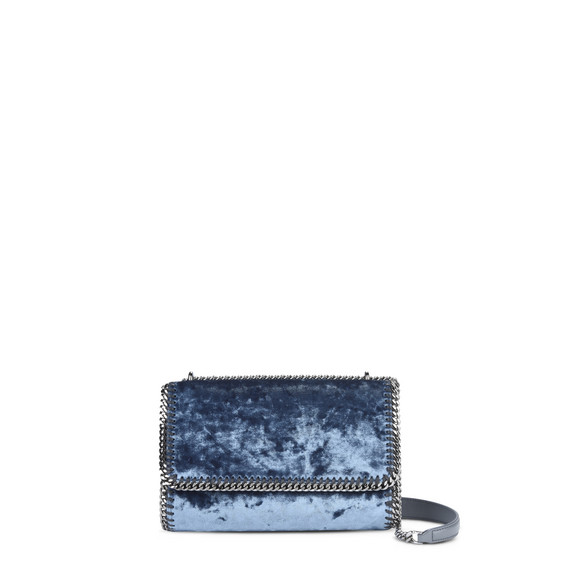 Blue Velvet Falabella Shoulder Bag