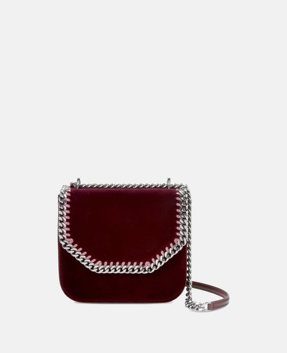 Velvet Burgundy Falabella Box Medium Shoulder Bag