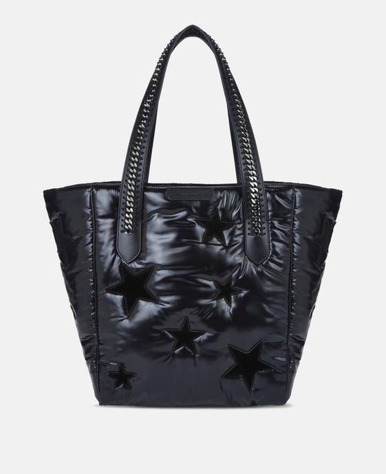 Black Star Print Falabella Go Shoulder Bag