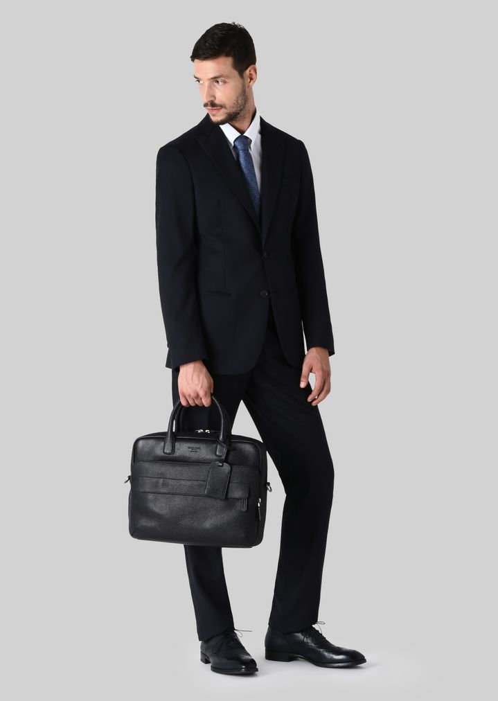 GIORGIO ARMANI LEATHER BRIEFCASE WITH HANDLE Briefcase Man r