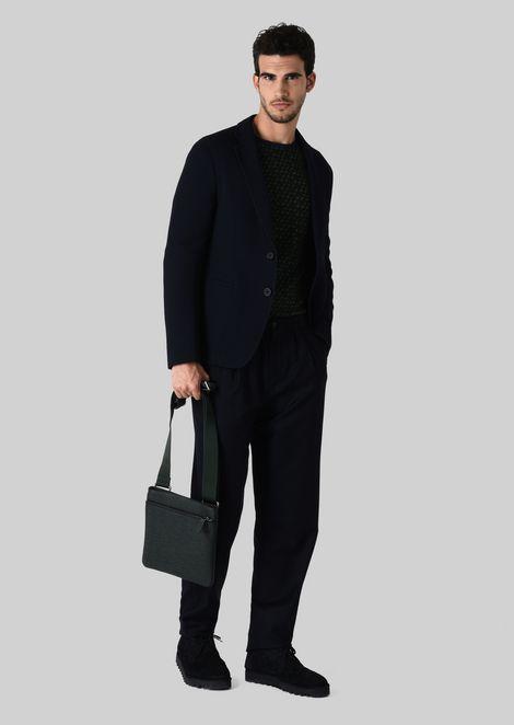 FLAT LEATHER BAG WITH SHOULDER STRAP