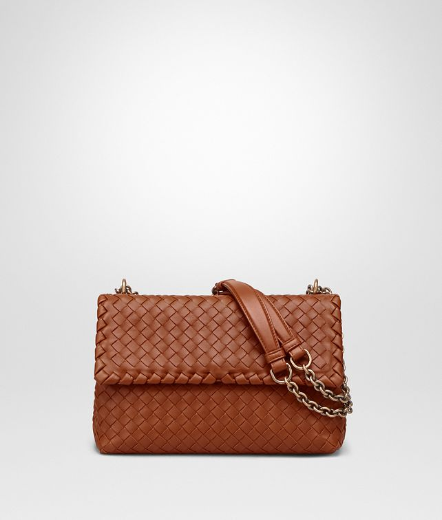 BOTTEGA VENETA SMALL OLIMPIA BAG IN DARK CALVADOS INTRECCIATO NAPPA Shoulder or hobo bag D fp