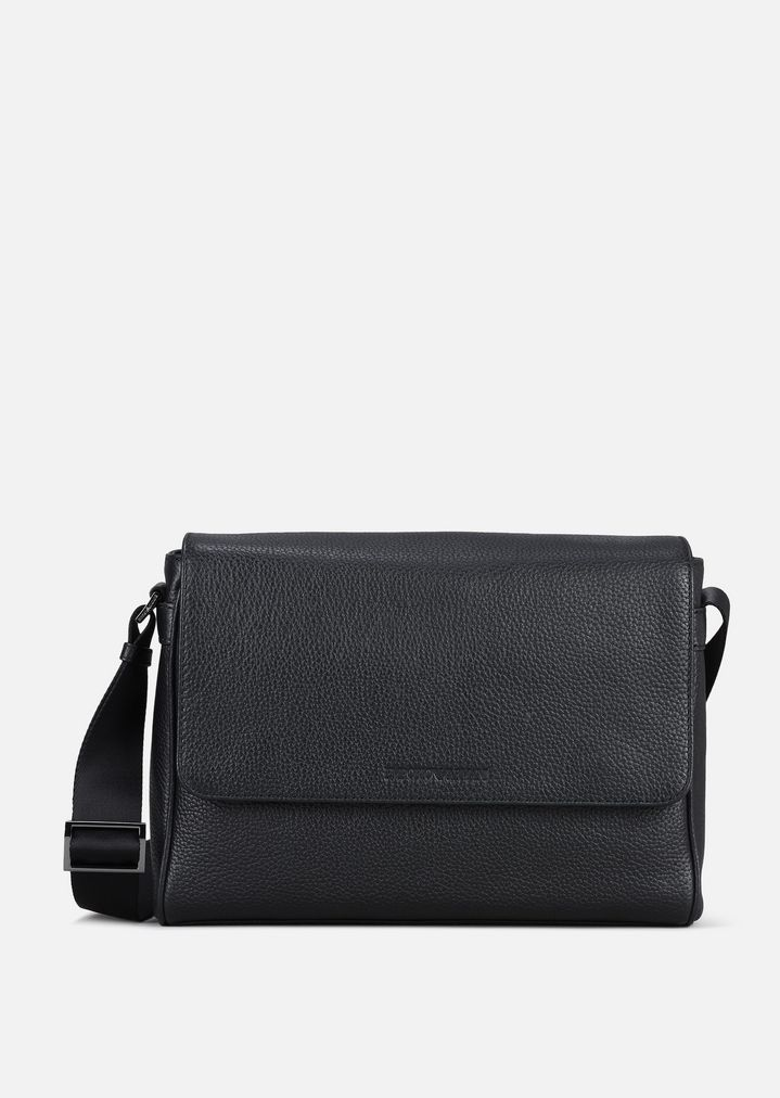 Grainy Leather Messenger Bag Man Emporio Armani