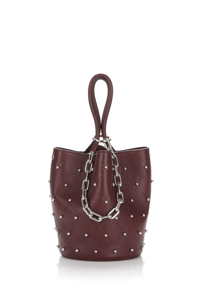 ALEXANDER WANG TOTES ROXY BUCKET IN EMBOSSED BEET WITH RHODIUM