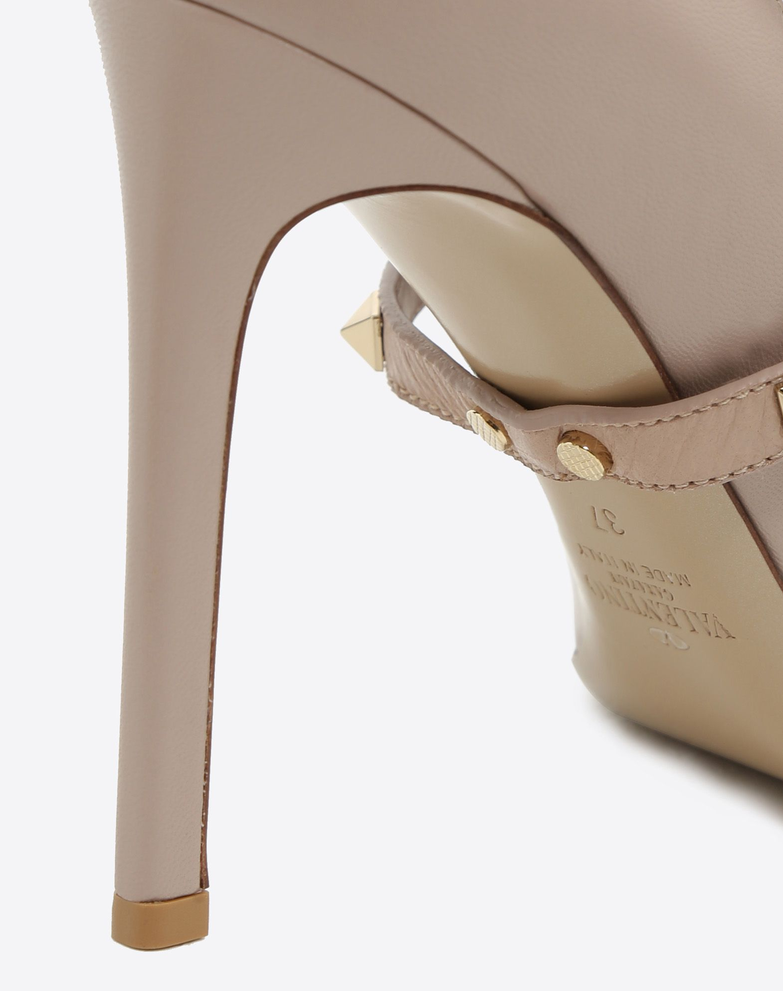 VALENTINO Solid color Stiletto heel Studs Buckling ankle strap closure Narrow toeline Leather lining Leather sole  45364629vu