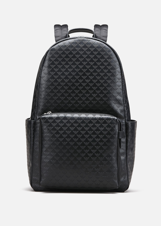 All Over Print Calfskin Backpack For Men Emporio Armani