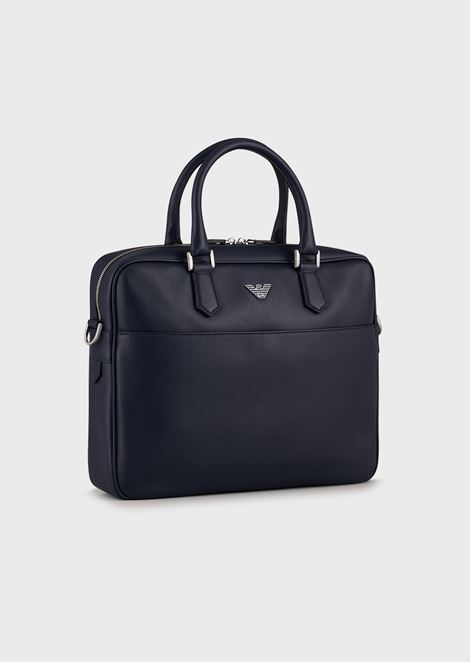 Printed palmellato leather briefcase with shoulder strap