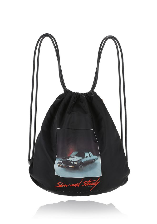 ALEXANDER WANG accessories WALLIE GYMSACK IN BLACK NYLON WITH CAR PRINT